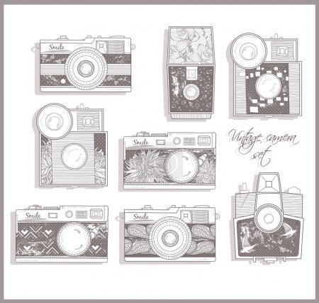 Retro photo cameras set. Vintage cameras.
