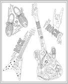 Rock music design elements set