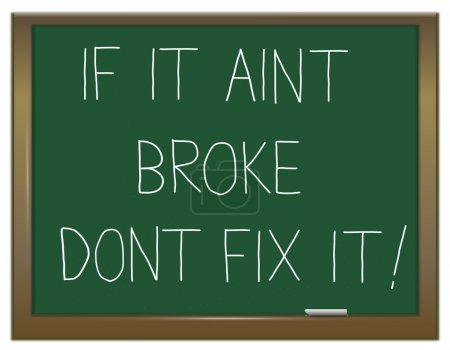Photo for Illustration depicting a green chalkboard with the words 'if it aint broke dont fix it'. - Royalty Free Image