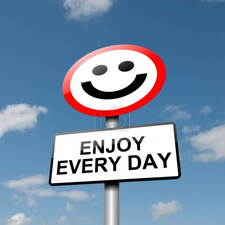 Photo pour Illustration représentant un panneau de signalisation routière avec un concept de bonheur. Fond bleu ciel . - image libre de droit