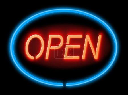 Photo pour Illustration représentant un signal lumineux bleu et rouge « ouvert » avec fond noir, - image libre de droit