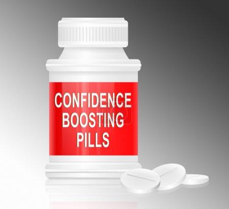 """Photo pour Illustration représentant un seul contenant de médicaments blancs et rouges avec les mots """"pilules stimulant la confiance"""" sur le devant avec un fond gris et quelques comprimés - image libre de droit"""
