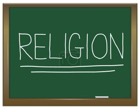 Photo pour Illustration représentant un tableau vert avec un concept religieux écrit dessus . - image libre de droit