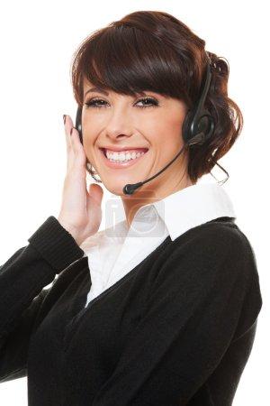 Studio shot of woman operator