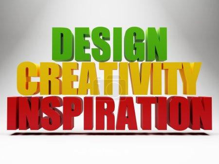 Photo pour Mots 3D design inspiration créativité sur fond gris - image libre de droit
