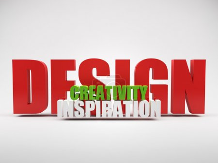 Render of words design creativity inspiration
