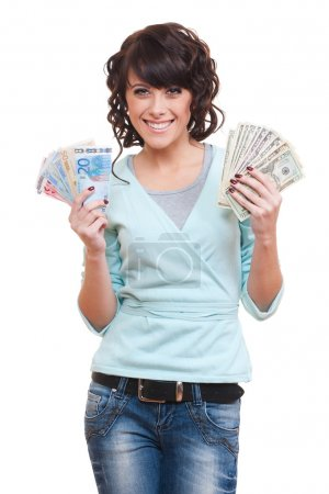 Woman holding dollars and euro