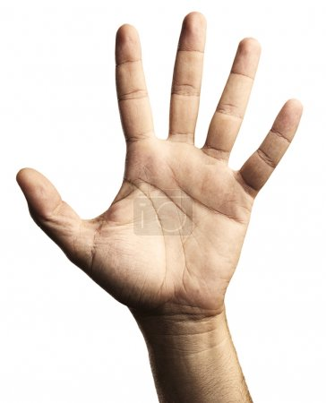 Photo for Hand symbol five against a white background - Royalty Free Image