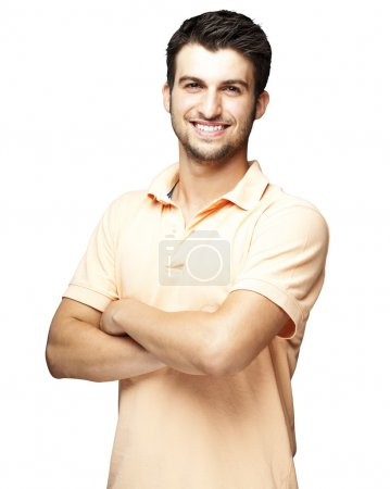 Photo for Portrait of a happy young man smiling against a white background - Royalty Free Image