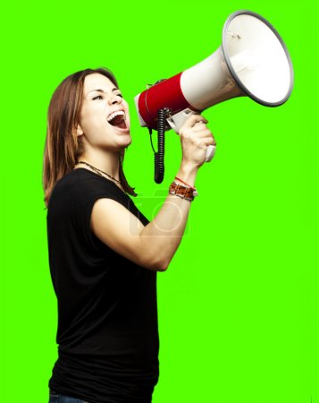 Young with megaphone