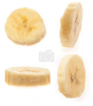 Photo for Banana slices isolated on a white background - Royalty Free Image