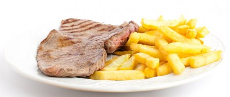 Photo for Meat and chips on a plate - Royalty Free Image