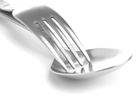 Photo pour Argenterie métallique isolée sur fond blanc - image libre de droit