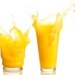 Orange juice splash collection on a white backgrou...