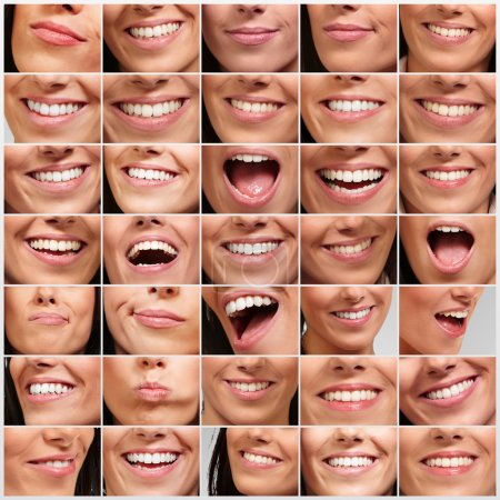 Photo for Collection of pretty girl mouth gestures - Royalty Free Image