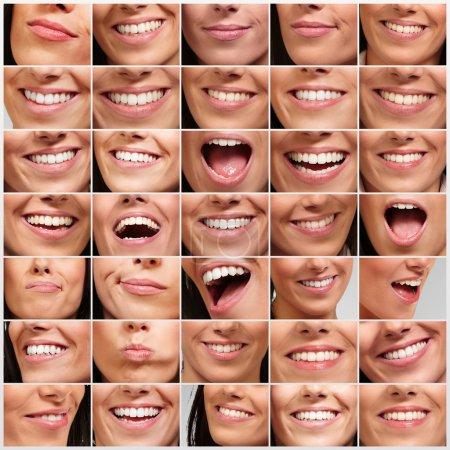 Photo pour Collecte des mouvements de bouche de jolie fille - image libre de droit