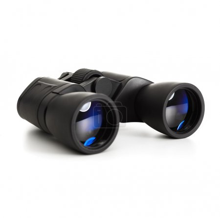 Modern binoculars over white background