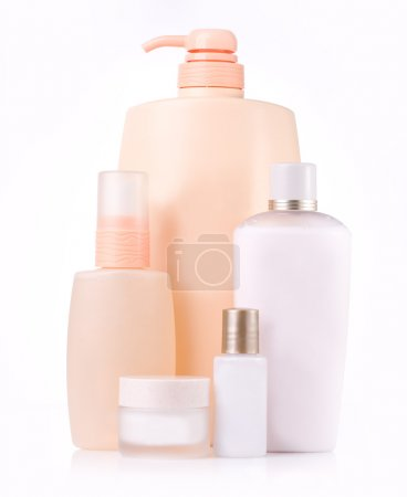 Photo for Different cosmetic bottle - group isolated - Royalty Free Image