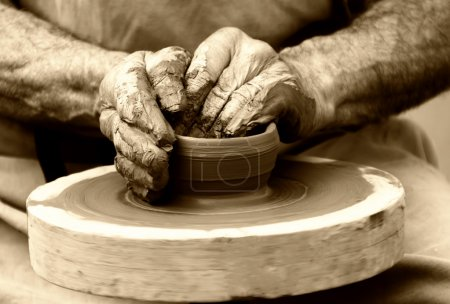 Photo for Potter on the potters wheel - Royalty Free Image