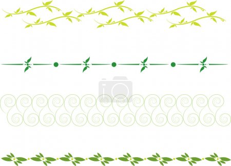 Illustration for Set of dividing lines with floral scrolls and leaves - Royalty Free Image