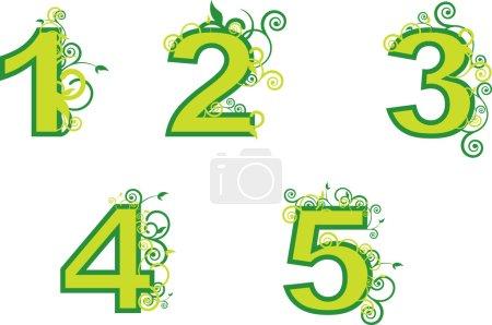 Illustration pour Numéros d'ordre de 1 à 5 - image libre de droit