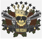 Vector emblem with a skull and pistols