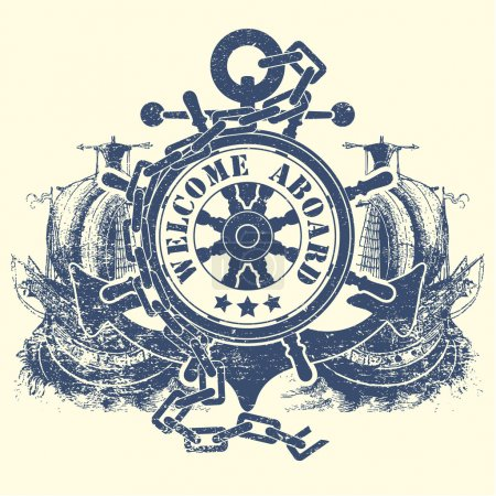 Stamp with a steering wheel an anchor a chain and the ancient ships