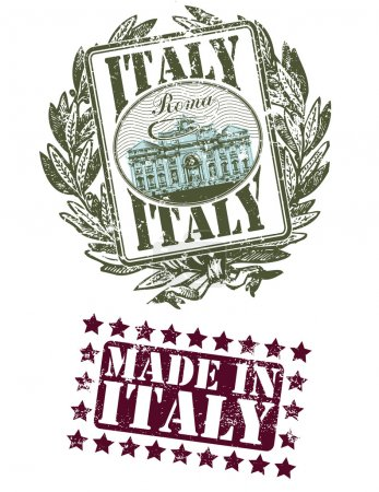 Rubber stamp of Italy with the fountain image