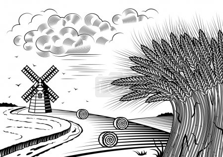 Illustration for Retro wheat fields landscape in woodcut style. Black and white vector illustration with clipping mask. - Royalty Free Image