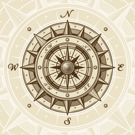 Illustration for Vintage compass in woodcut style. Vector illustration with clipping mask. - Royalty Free Image