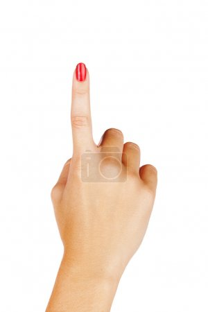 Photo for Close-up of woman's hand with red nails pointing with index finger on white background. - Royalty Free Image