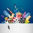 Illustration of cinema background with different m...