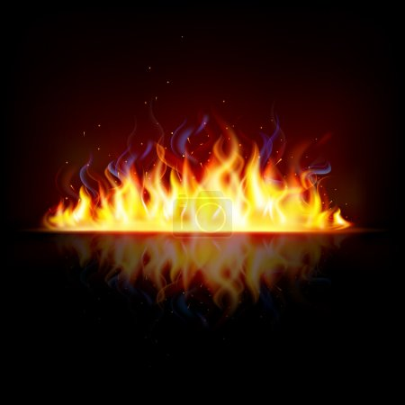 Illustration for Illustration of glowing fire flame with sparks - Royalty Free Image