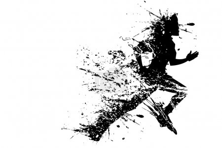 Photo for Illustration of splashy runner silhouette on white background - Royalty Free Image