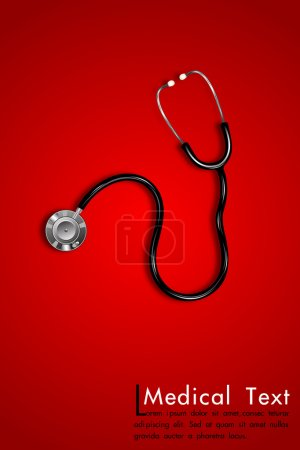 Illustration for Illustration of stethoscope on abstract medical background - Royalty Free Image