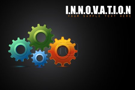 Illustration for Illustration of colorful cogwheel in innovation concept background - Royalty Free Image