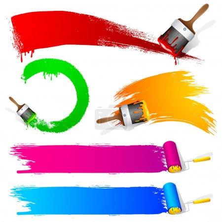 Illustration pour Illustration de l'ensemble de coup de pinceau coloré - image libre de droit