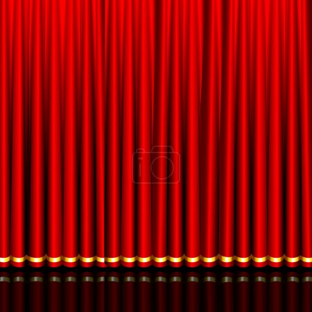 Illustration for Illustration of glossy silk red curtain in stage - Royalty Free Image