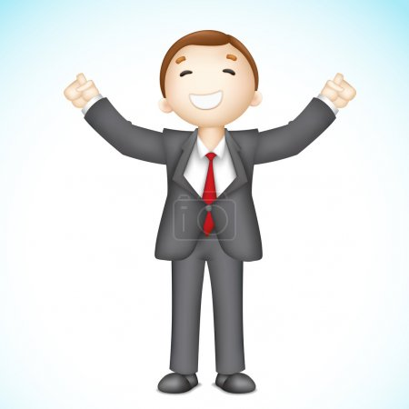 Happy 3d Business man in Vector