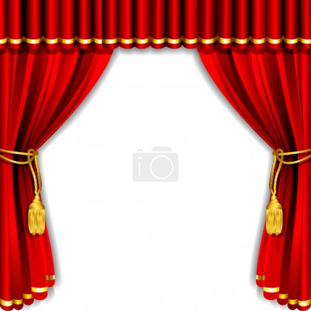 Illustration for Illustration of silk stage curtain with white backdrop - Royalty Free Image