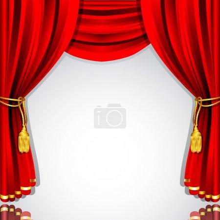 Illustration pour Illustration de rideau de scène en soie avec fond blanc - image libre de droit