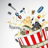 Illustration of entertainment object popping out of popcorn bucket