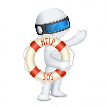 3d man holding Lifebuoy