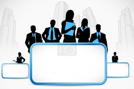 Illustration pour Illustration de standing d'affaires avec placard sur fond de ville - image libre de droit