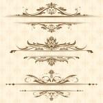 Illustration of set of vintage design elements for...