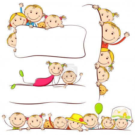 Illustration for Illustration of many kids peeping behind placard - Royalty Free Image