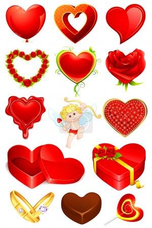 Illustration pour Illustration de l'ensemble de l'élément d'amour pour la conception - image libre de droit