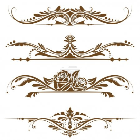 Illustration for Illustration of set of vintage design elements for page border - Royalty Free Image