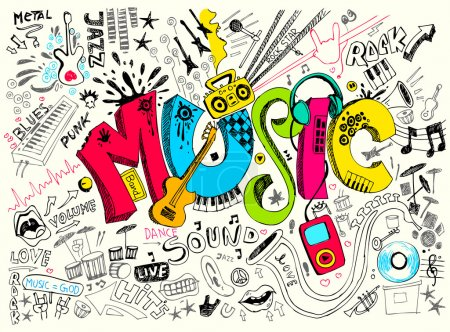 Illustration of music background in doodle style...