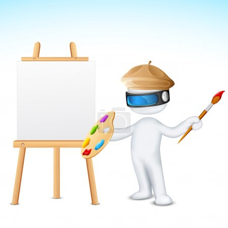 Illustration for Illustration of 3d man in vector fully scalable with paint brush and easel - Royalty Free Image